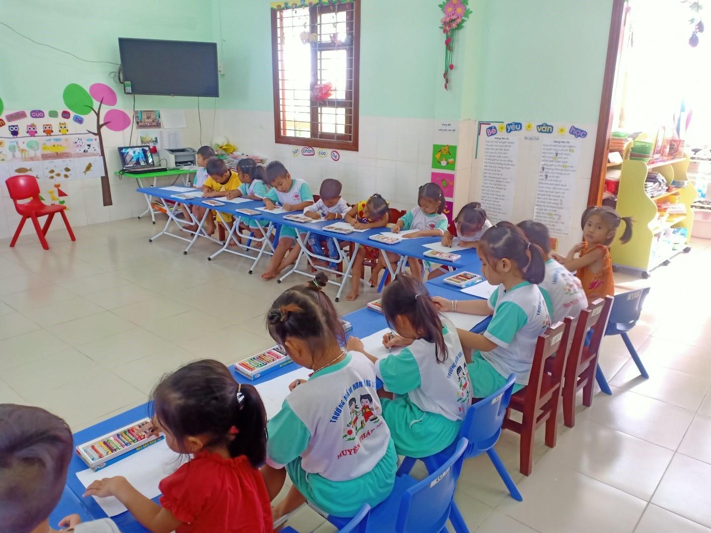 Các bé ngồi vào bàn để thực hiện vẽ tranh theo sự sáng tạo của mình